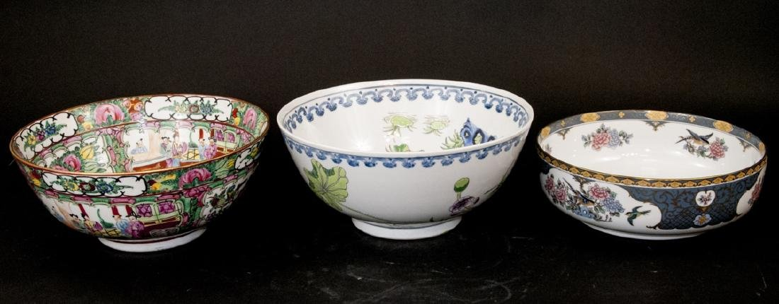 3 Chinese Export Bowls and Jade Walrus