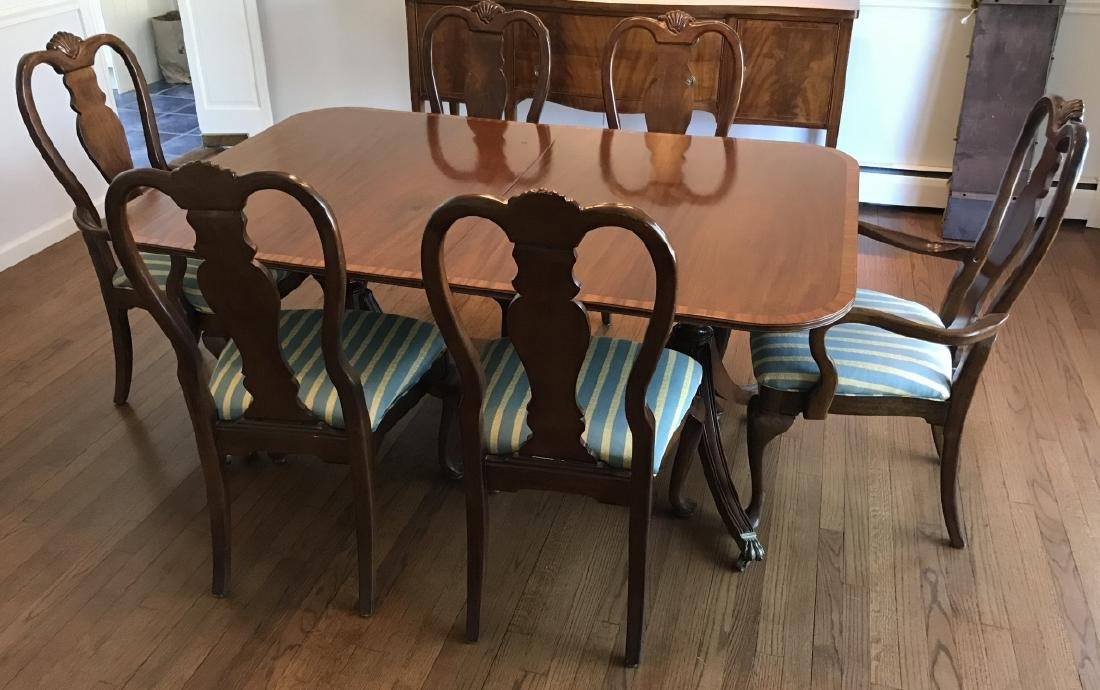 Set of Six English Queen Anne Style Dining Chairs