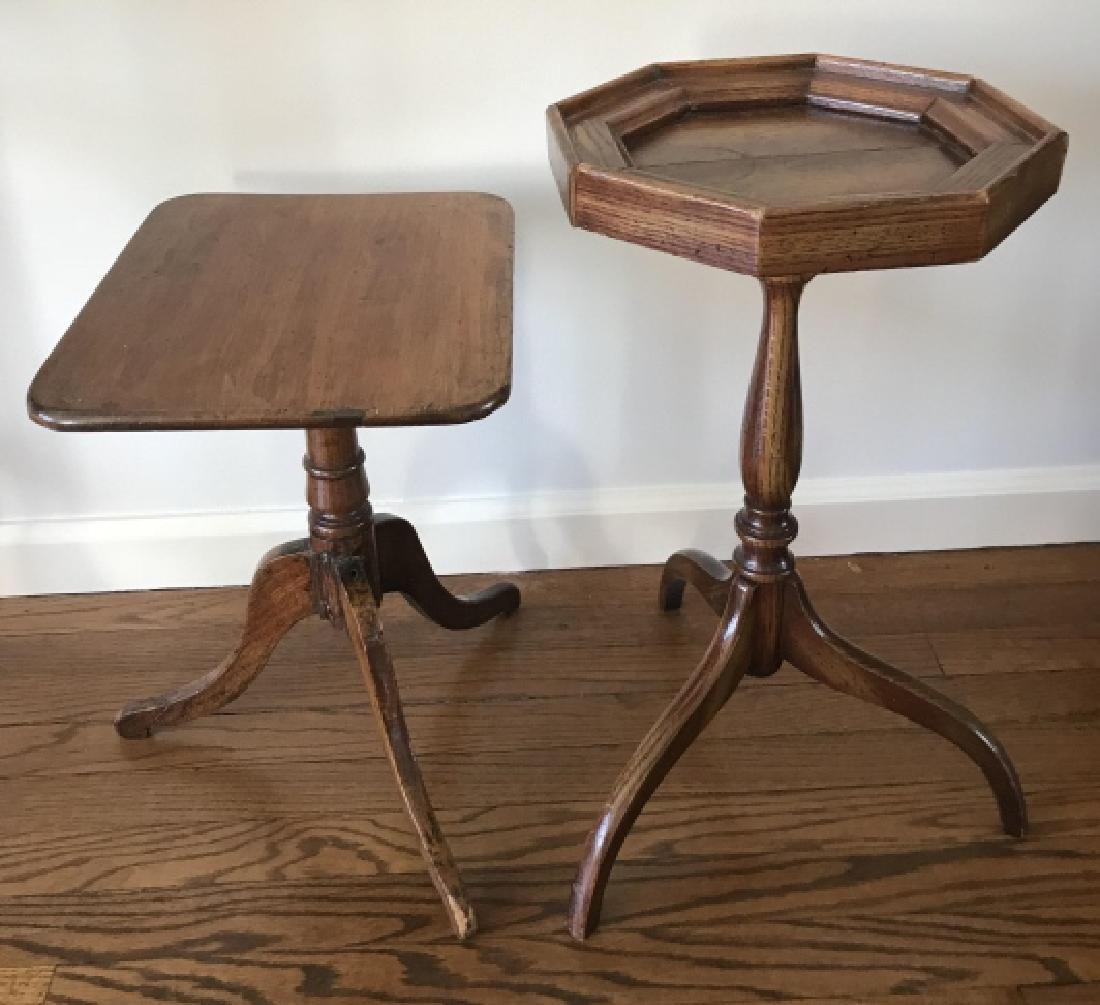 Two Antique English Style End Tables Drink Stands