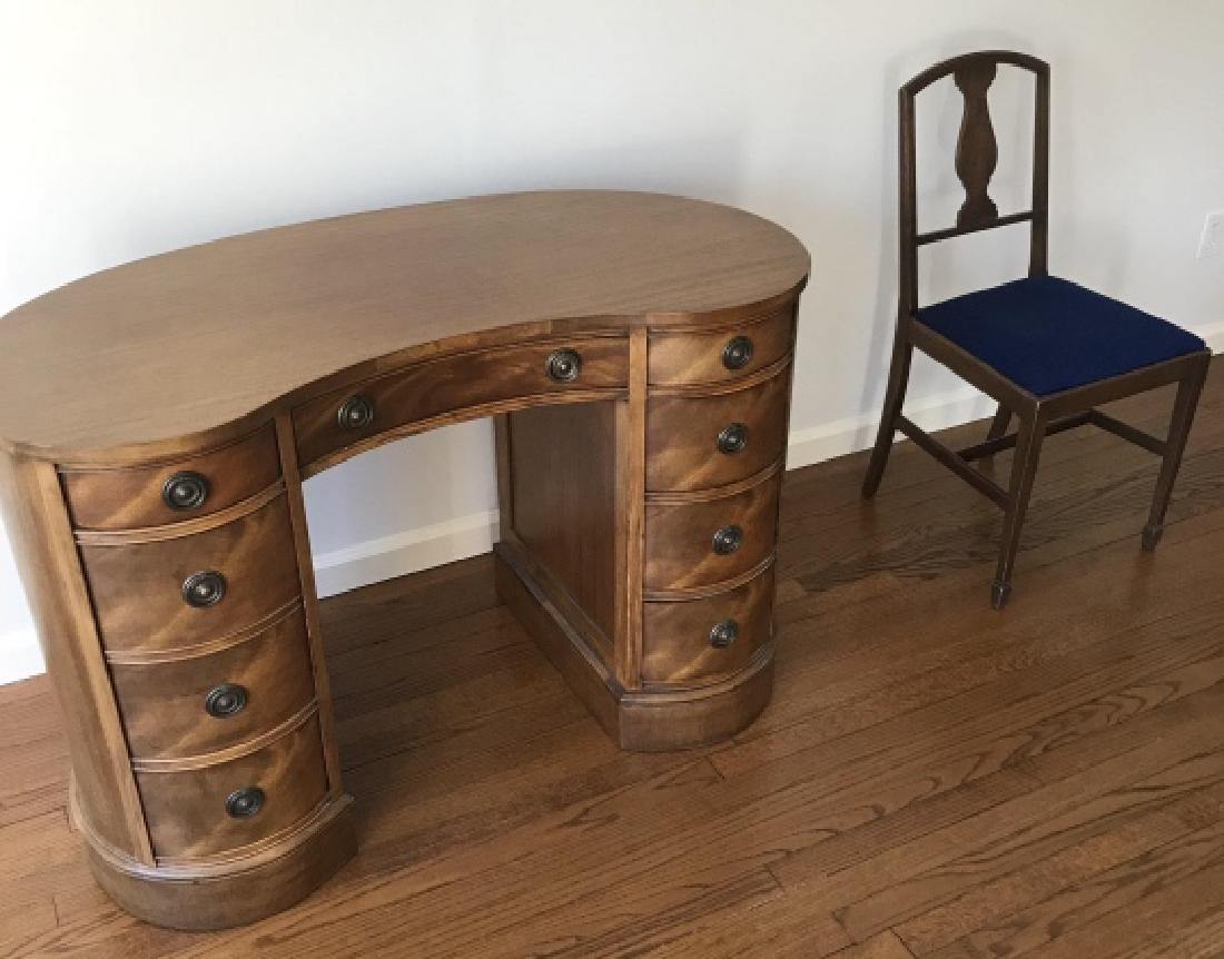 Antique Kidney Form Office Desk & Desk Chair