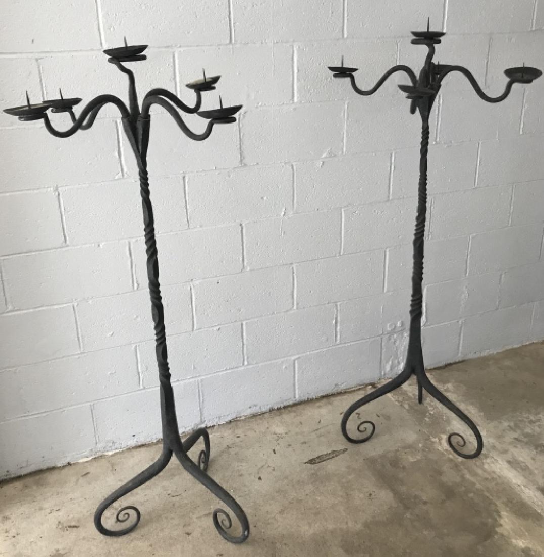 Pair Fletcher Coddington Wrought Iron Torchieres