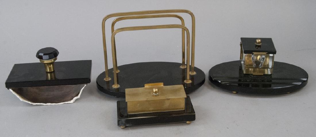 Four Pieces Art Deco Style Mark Cross Desk Set