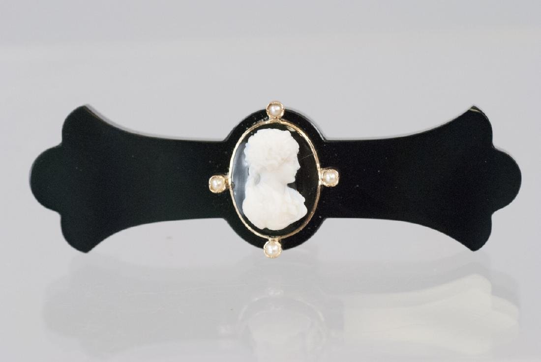 Antique 19th C Victorian Onyx Pearl & Cameo Brooch
