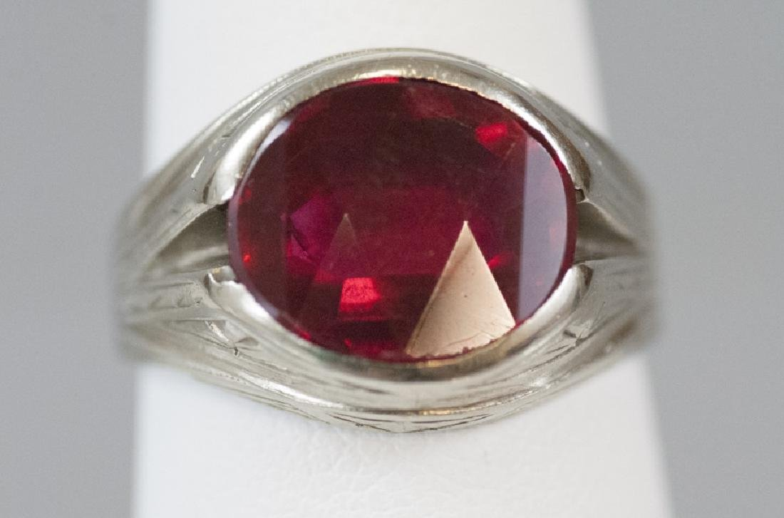 Estate Art Deco White Gold Synthetic Ruby Ring