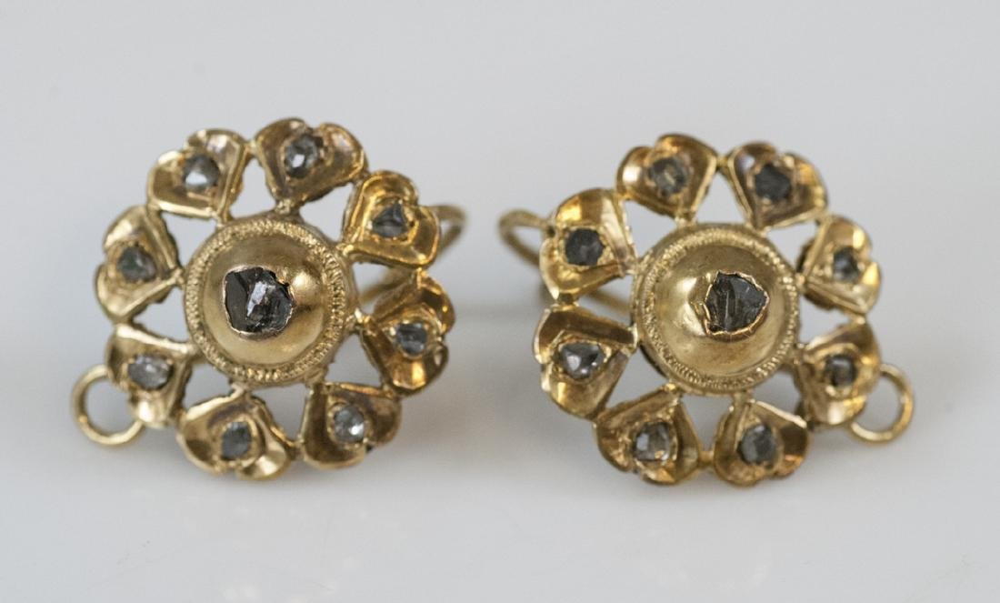 Antique 14kt Yellow Gold Rose Cut Diamond Earrings