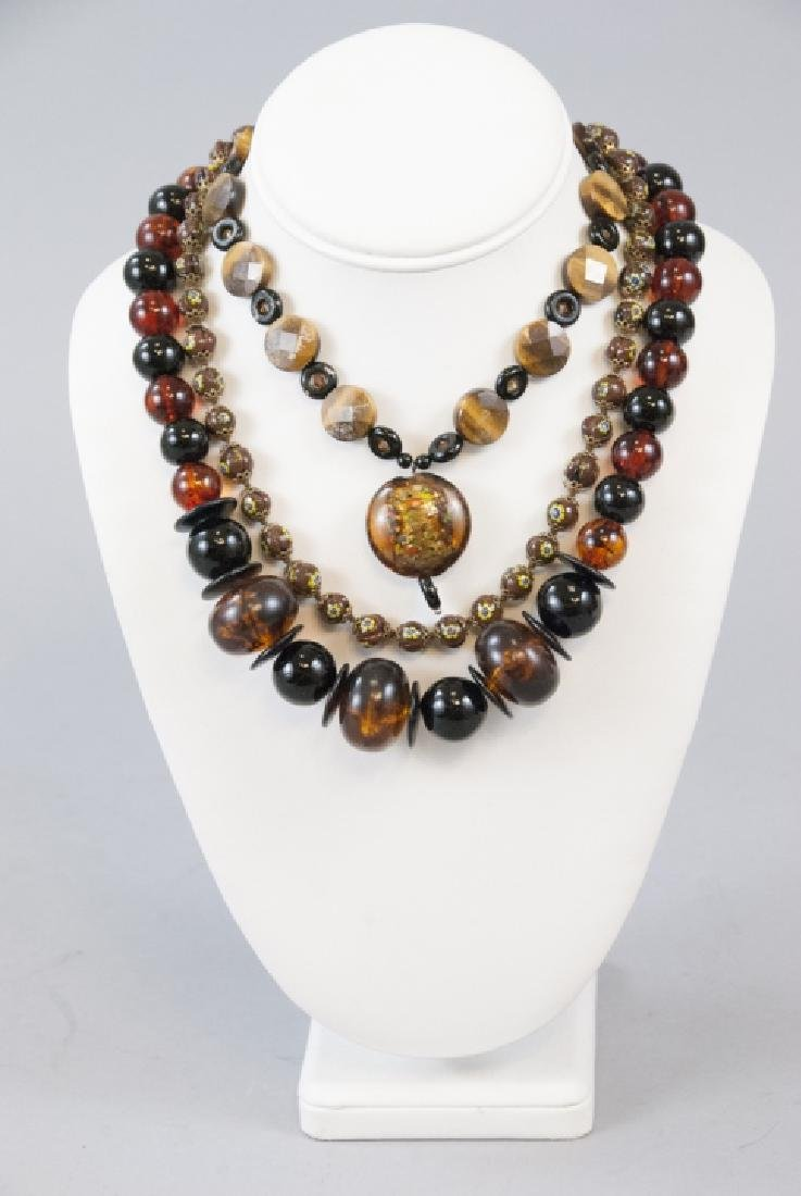 Millefiore, Tigers Eye and Faux Tortoise Necklaces