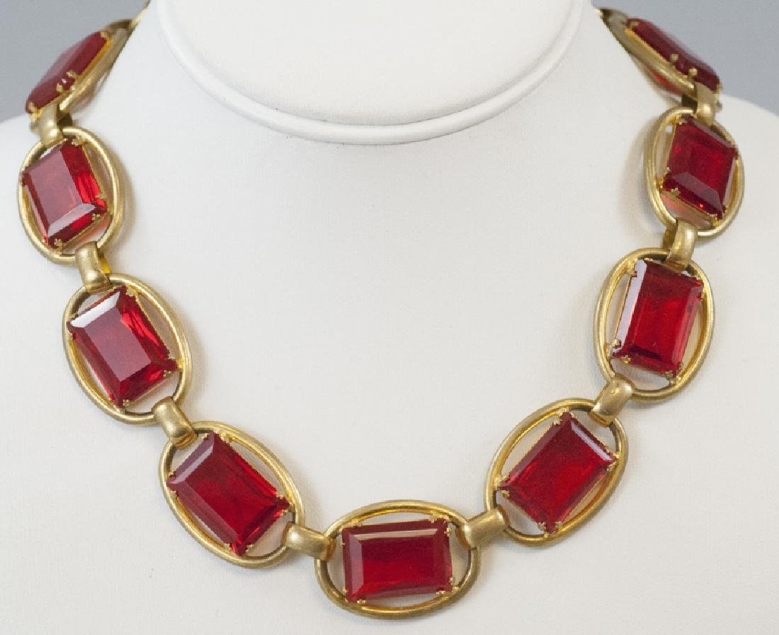 Vintage Gilt Metal & Ruby Glass Riviere Necklace