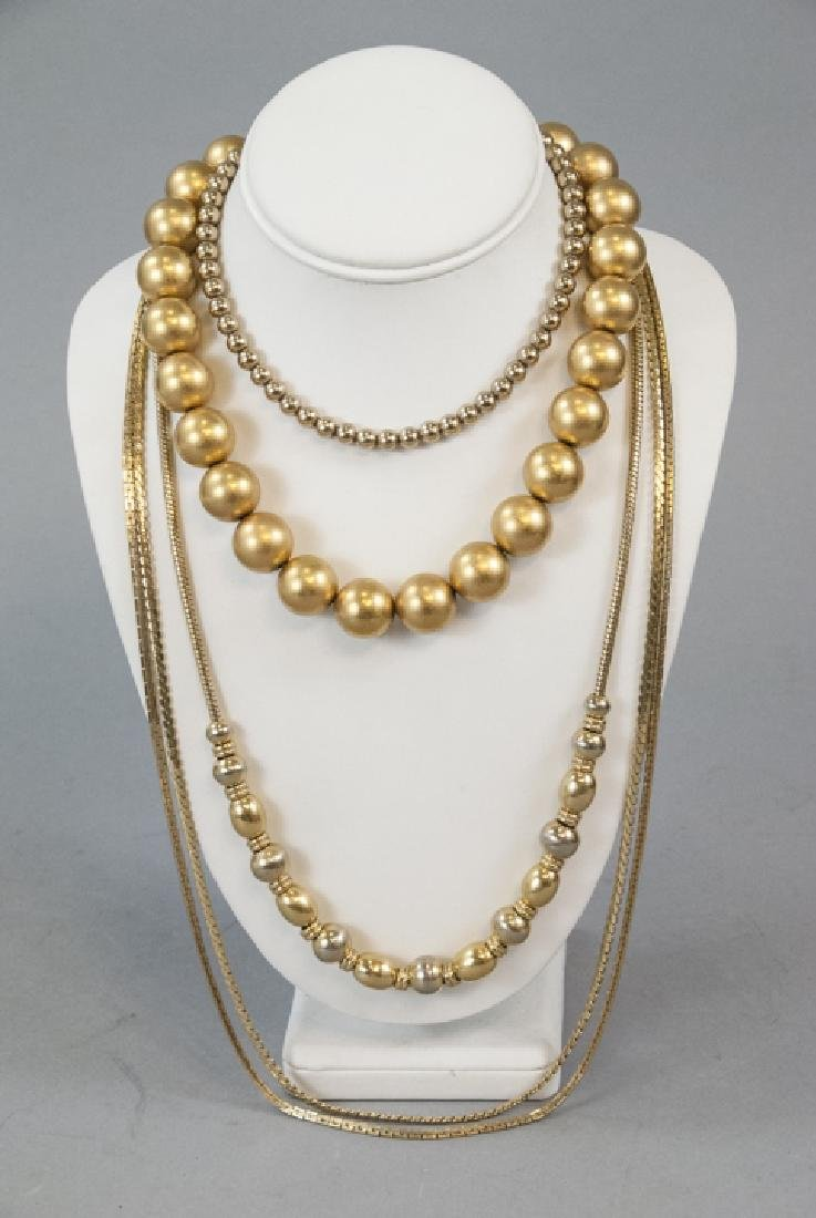 Gold Tone Bead and Chain Necklaces Klein, Monet