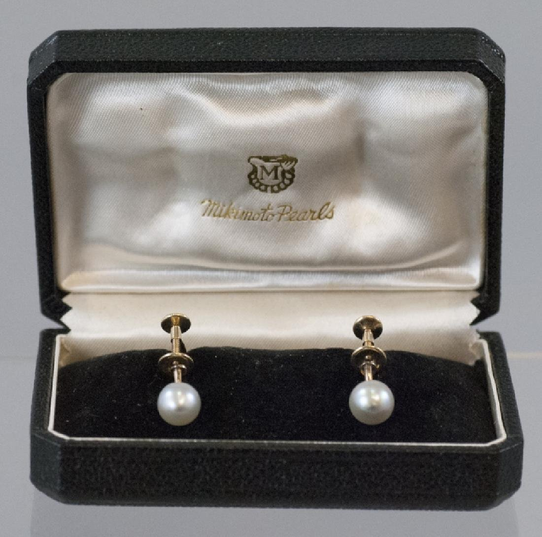 Estate 14kt Yellow Gold Mikimoto Pearl Earrings