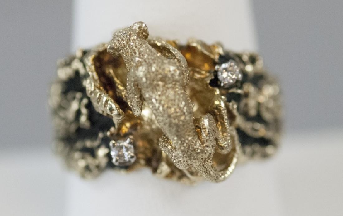 Estate 14kt Yellow Gold & Diamond Panther Ring