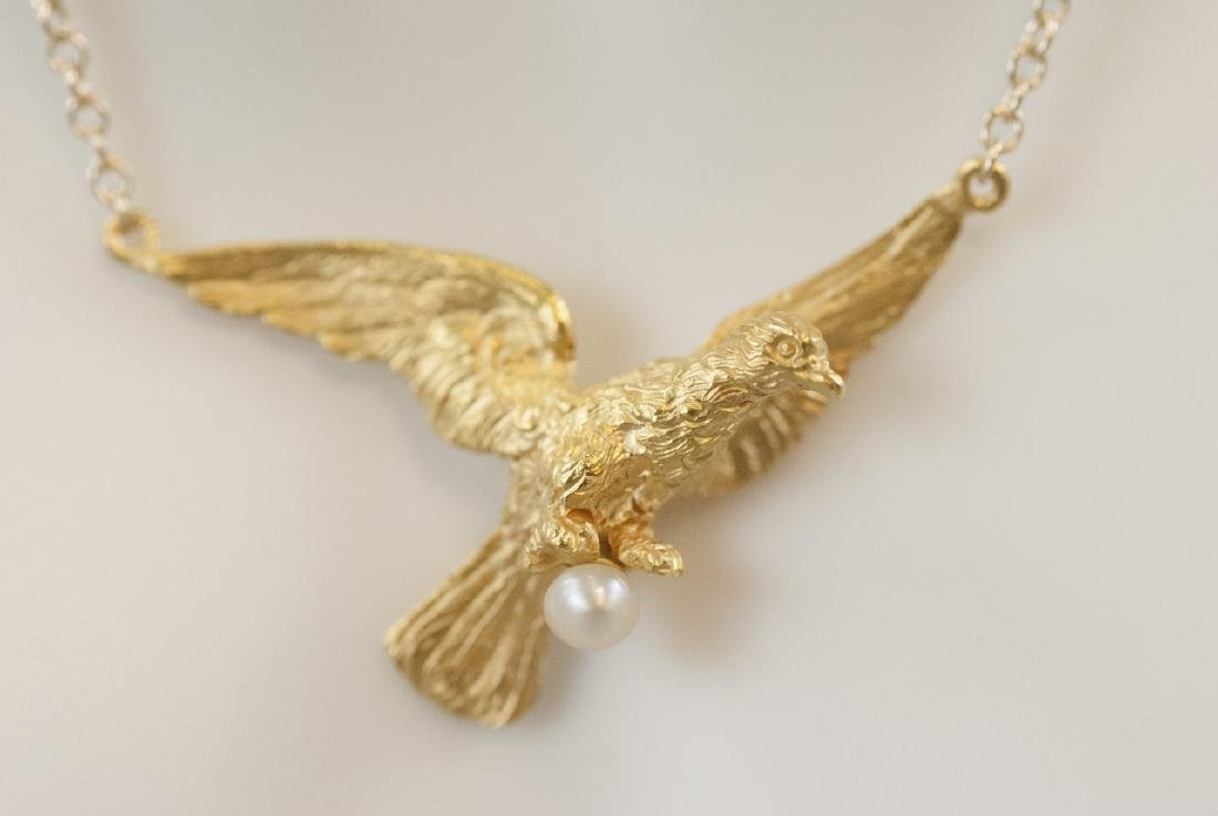 Antique 18k Gold Dove w Pearl on 14kt Necklace