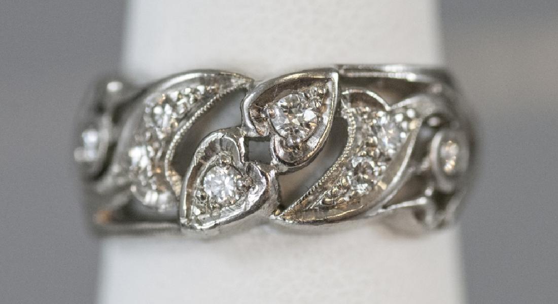 Estate Platinum & Diamond Heart Motif Ring