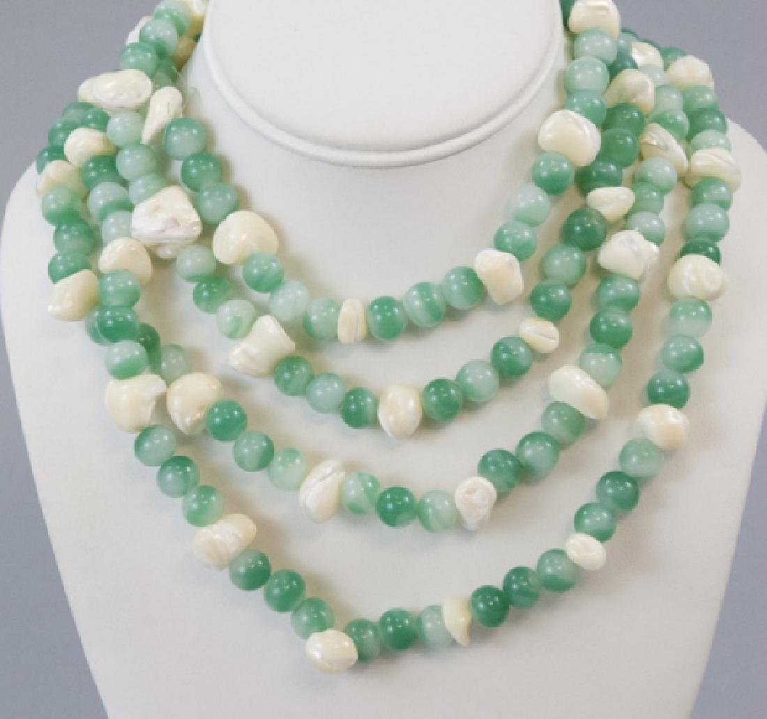 """Pair Antique Peking """"Jade"""" Glass & Shell Necklaces"""