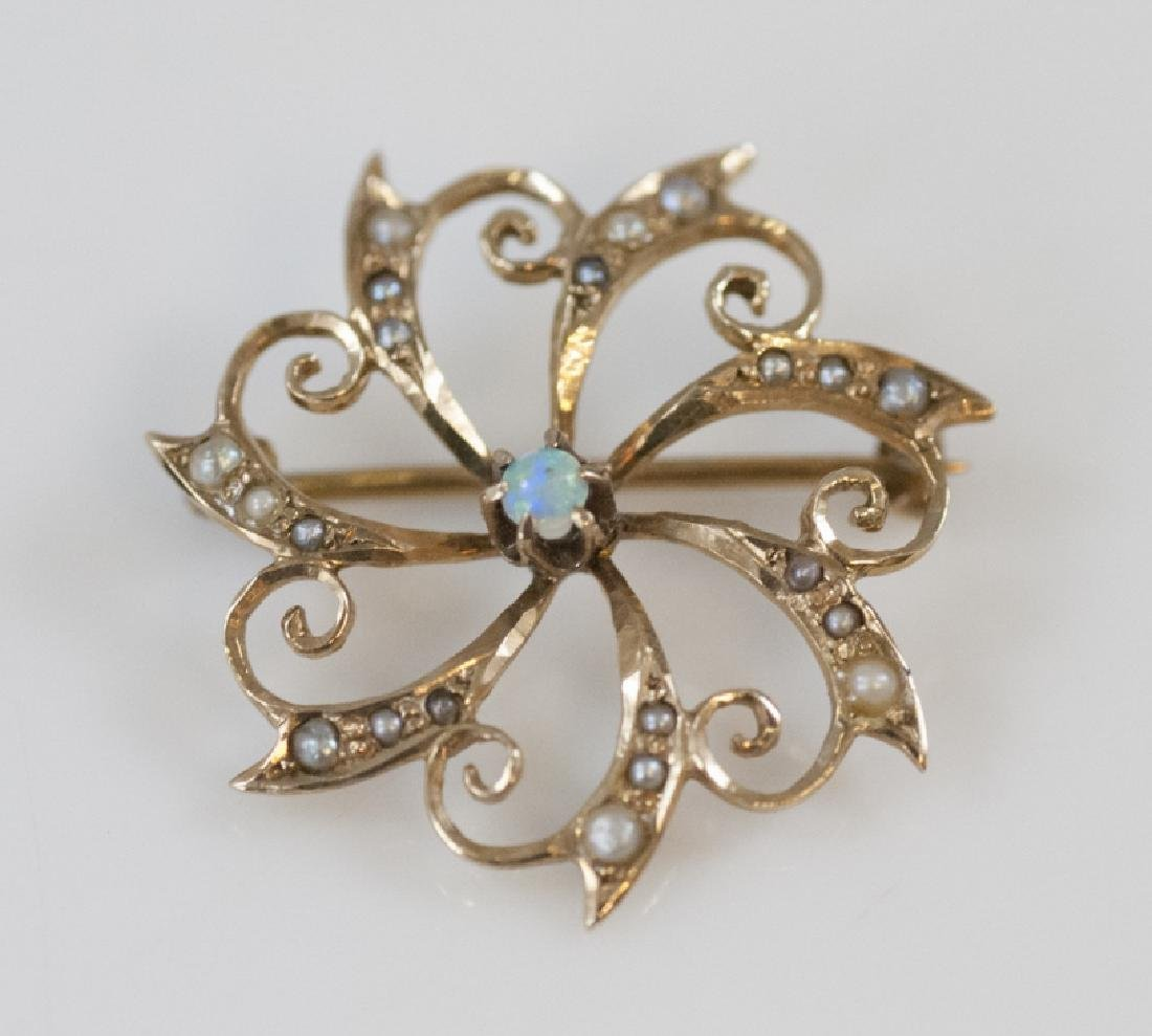 Estate 14kt Yellow Gold Opal & Seed Pearl Brooch