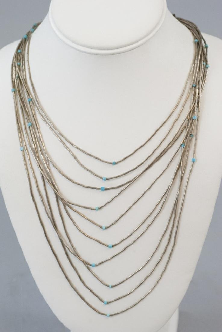 Vintage Native American Silver Turquoise Necklace