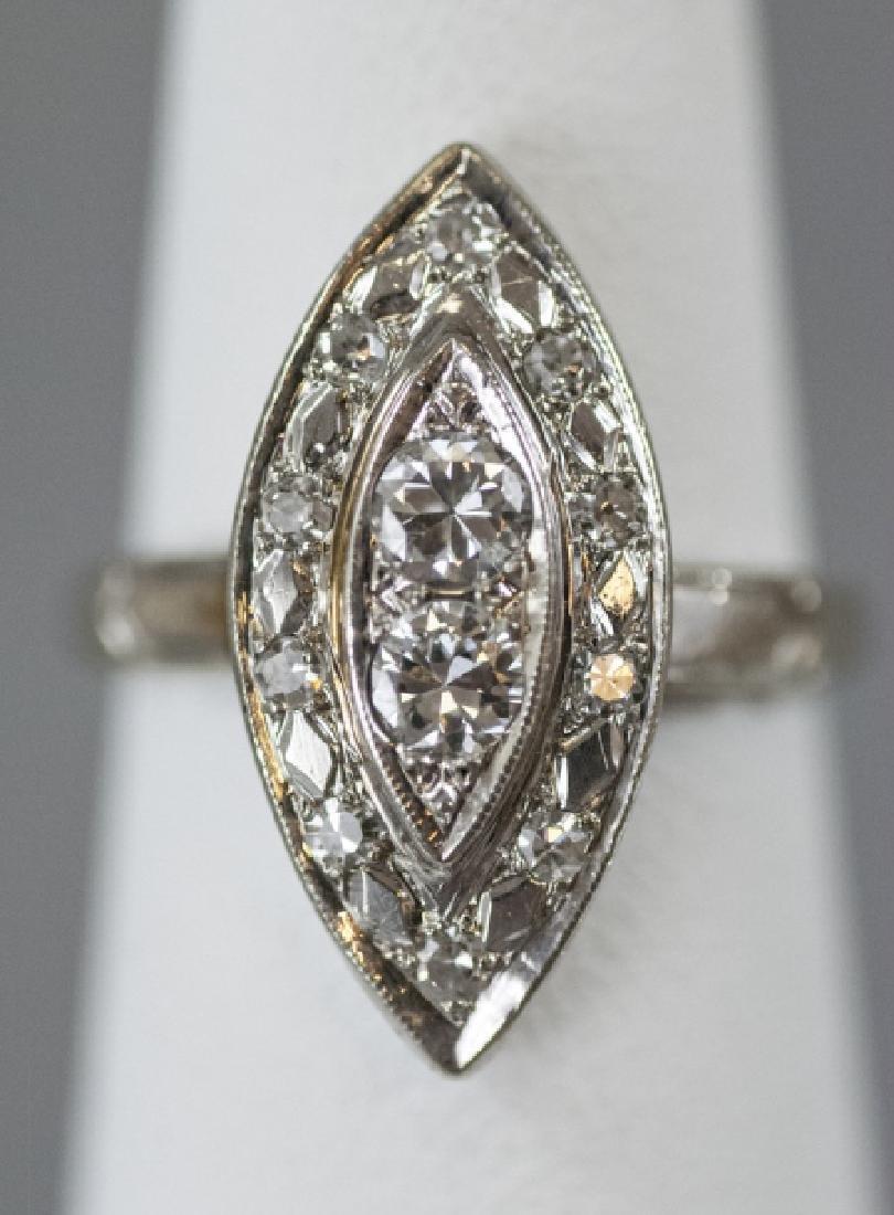 Estate 14kt White Gold & Diamond Navette Ring