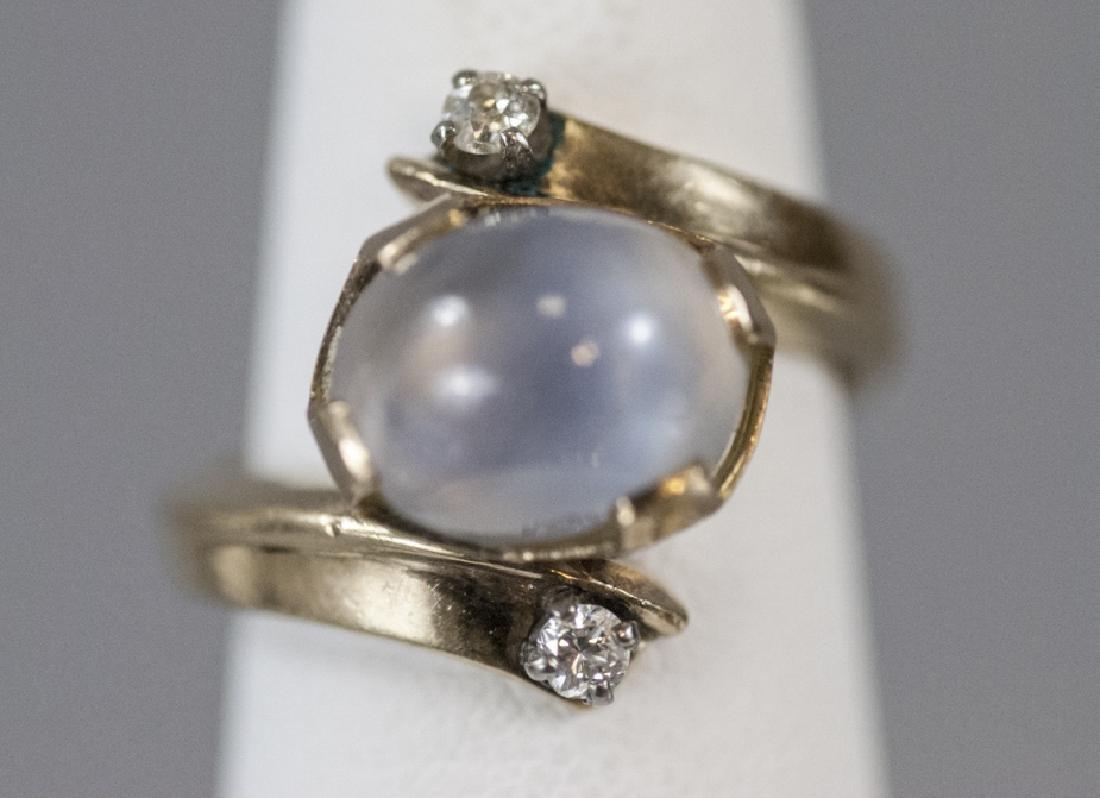 Estate 14kt Yellow Gold Star Sapphire Diamond Ring