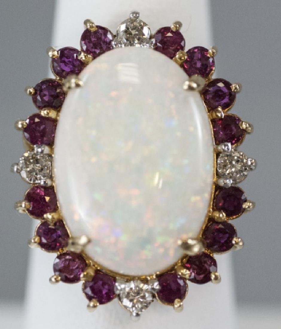 Estate Large Opal Ring w Ruby & Diamond Halo