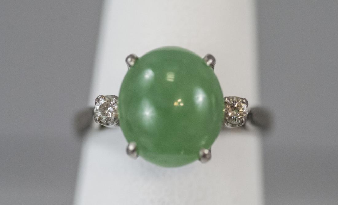 Estate 14kt White Gold Cabochon Jade Diamond Ring
