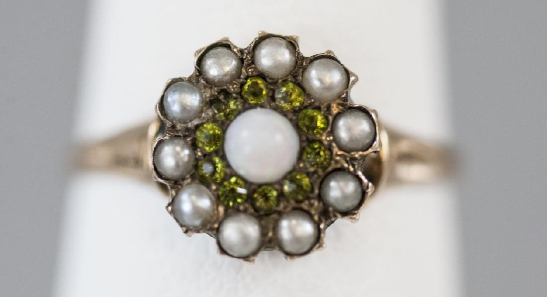 Antique Gold Cabochon Opal Seed Pearl Cluster Ring