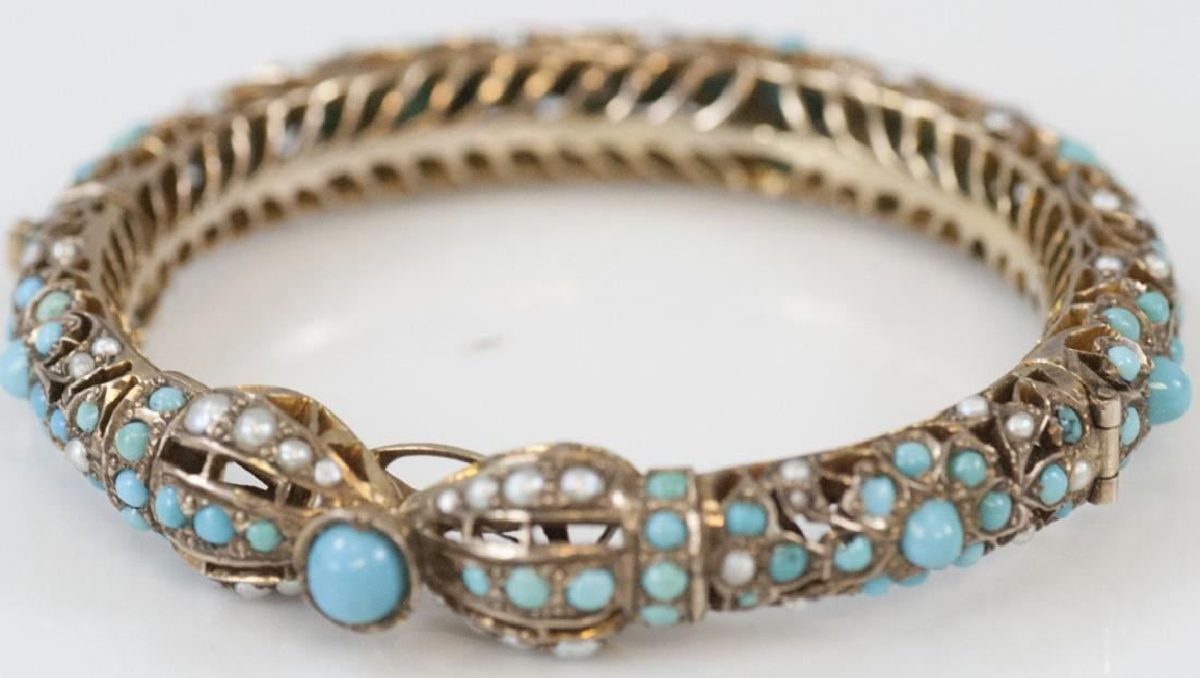 Antique 10k Yellow Gold Turquoise & Pearl Bracelet