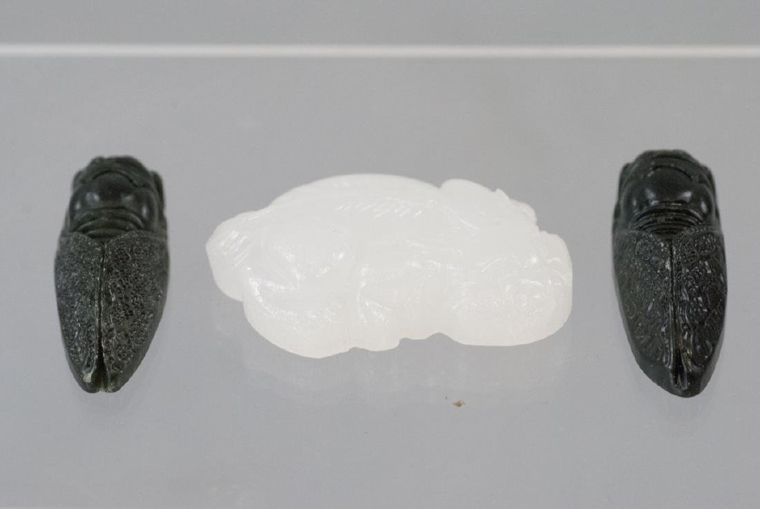 Three Chinese Carved Hardstone Jewelry Pendants