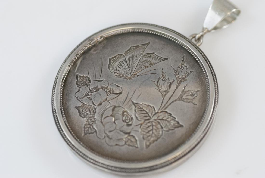 Antique 19th C Victorian Sterling Mourning Locket