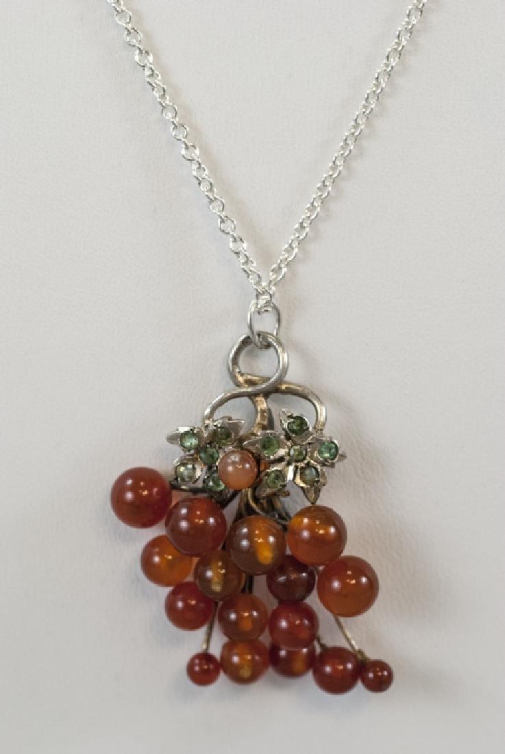 Antique Emerald & Carnelian Grape Cluster Necklace