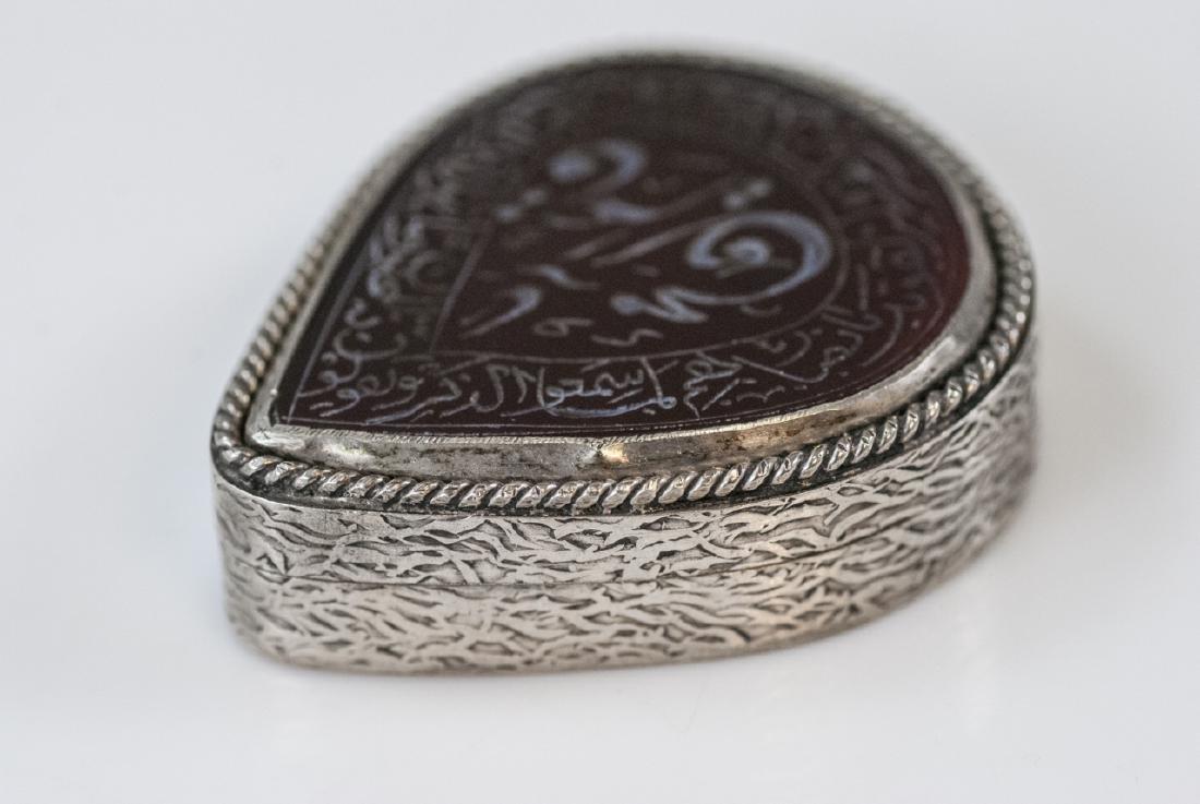 Antique Persian Silver & Hardstone Snuff Pill Box