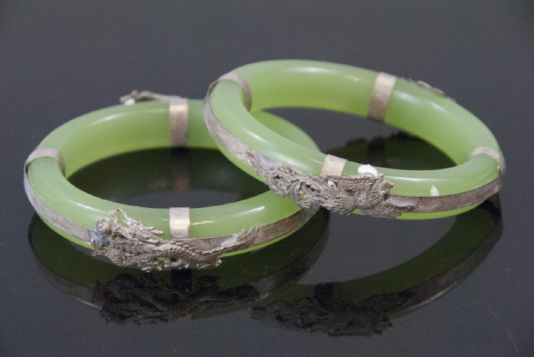 Pair Chinese Jade Glass Dragon & Phoenix Bracelets