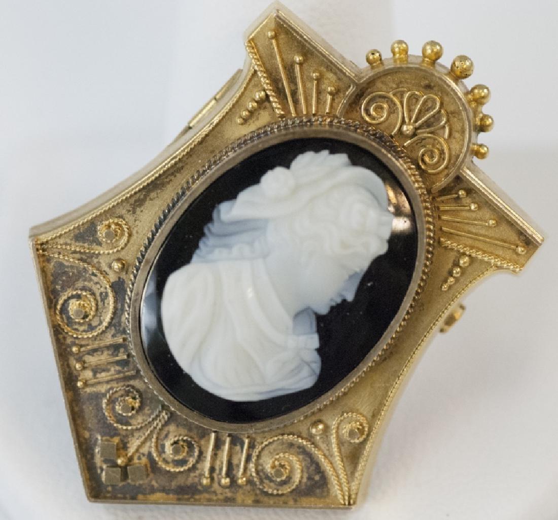 Antique 19th C Victorian 14kt Gold Cameo Pendant
