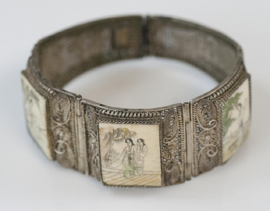 Chinese Silver Filigree & Hand Painted Bracelet
