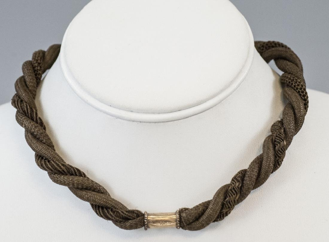 Antique 19th C Woven Hair Mourning Necklace