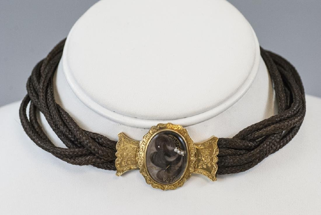 Antique 19th C Woven Hair Mourning Piece w Locket