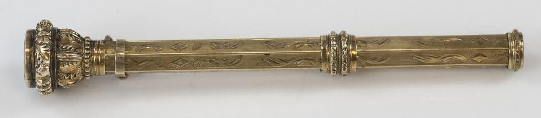 Antique 19th C Gold Filled & Citrine Glass Pencil