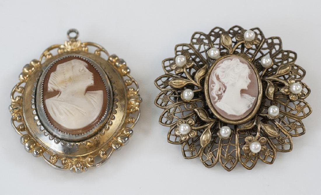 Two Vintage Costume Jewelry Cameo Brooch Pins