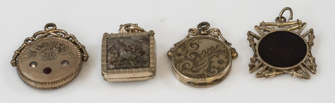 Four Antique 19th Gold Filled Watch Fob Pendants