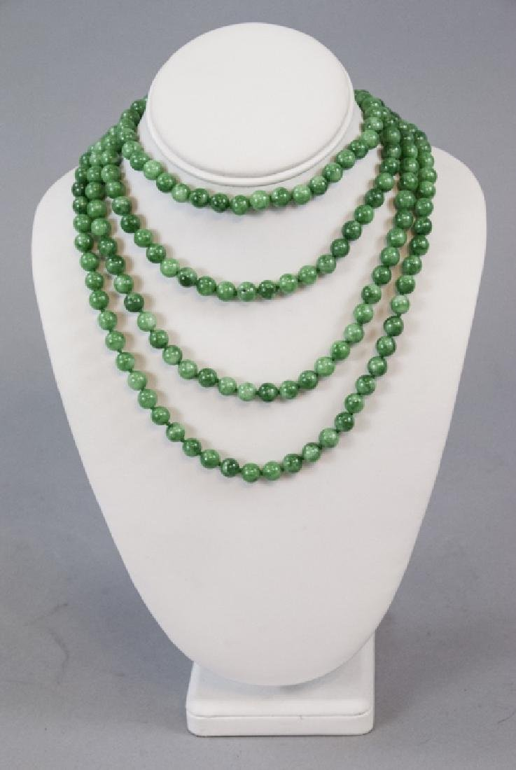 Pair of Hand Knotted Jade Necklace Strands