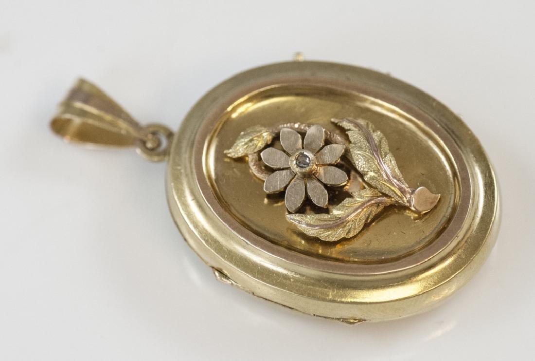 Antique 19th C 14kt Yellow Gold Locket Pendant