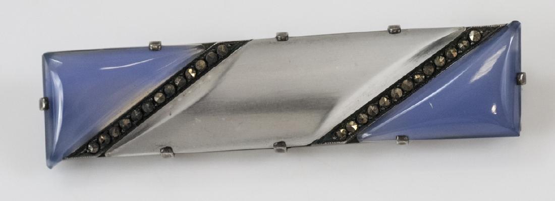 Antique Art Deco Chalcedony & Rock Crystal Pin