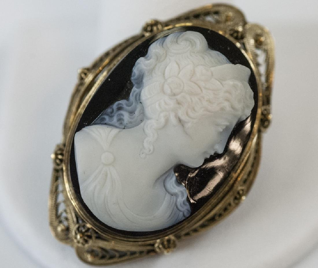 Antique 19th C Victorian 14kt Gold Hardstone Cameo