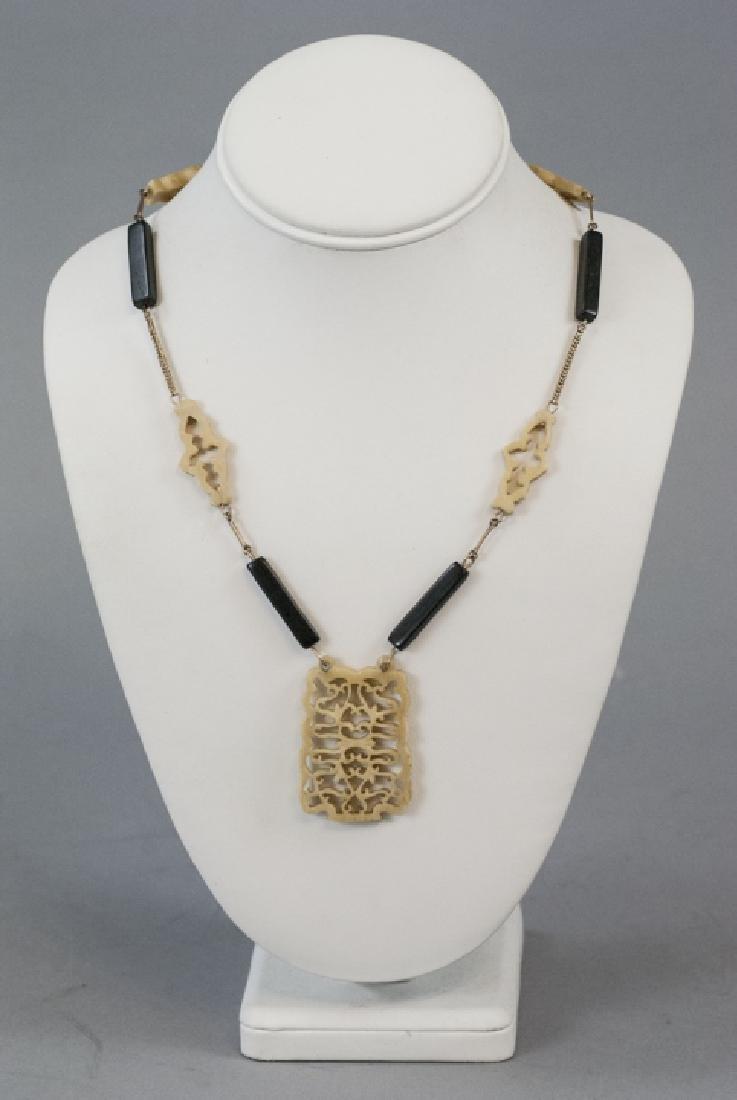 Vintage Chinese Carved Bone & Ebony Necklace