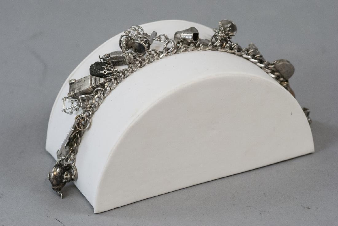 Vintage Sterling & Silver Plate Charm Bracelet