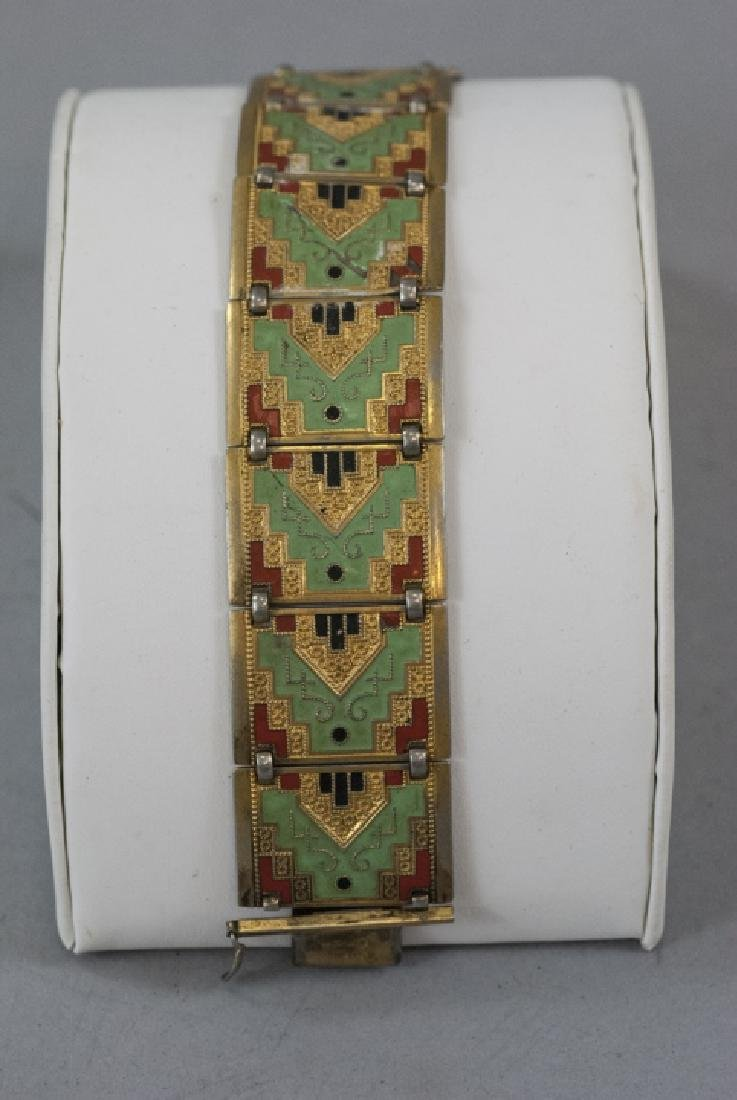 Antique Art Deco Enamel & Gilt Panel Bracelet