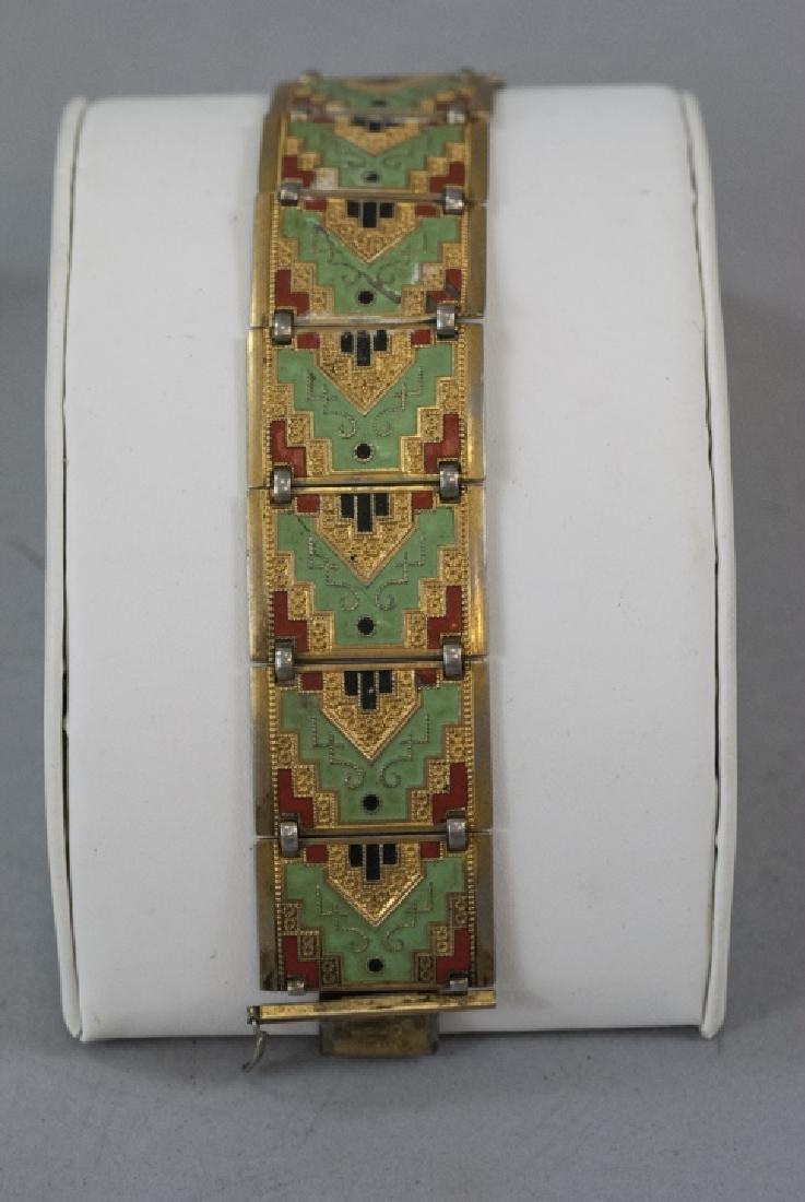 Antique Art Deco Enamel & Gilt Panel Bracelet