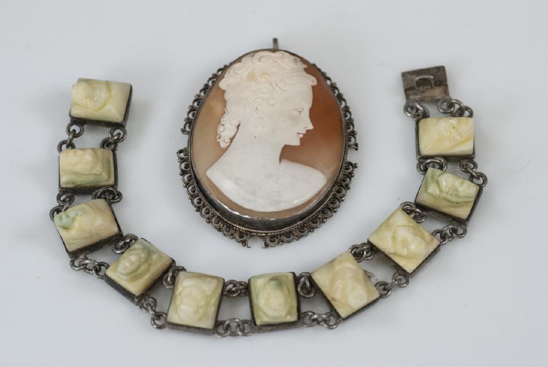 Antique Shell Cameo & Vintage Cameo Bracelet