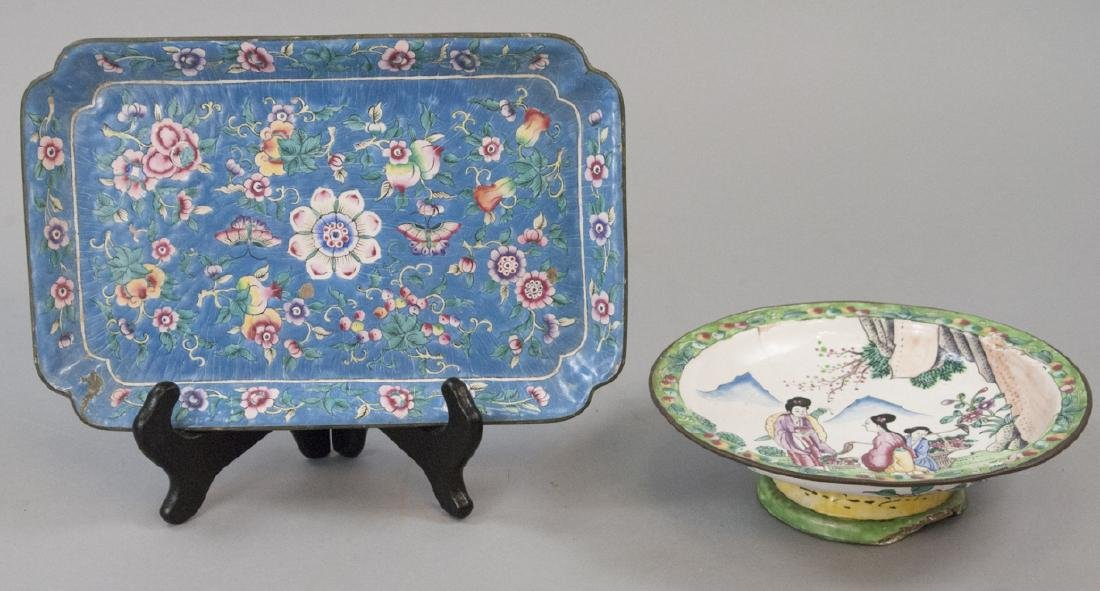 Two Chinese Canton Style Enamel Serving Pieces