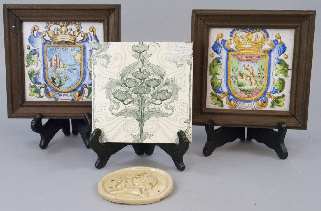Pair Hand Painted Shield Tiles & Mintons Tiles