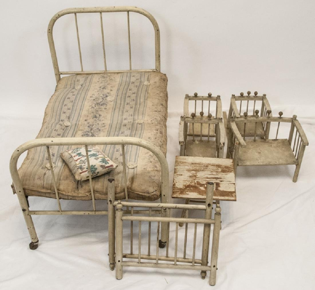 Antique Large Doll Bed and Doll Furniture