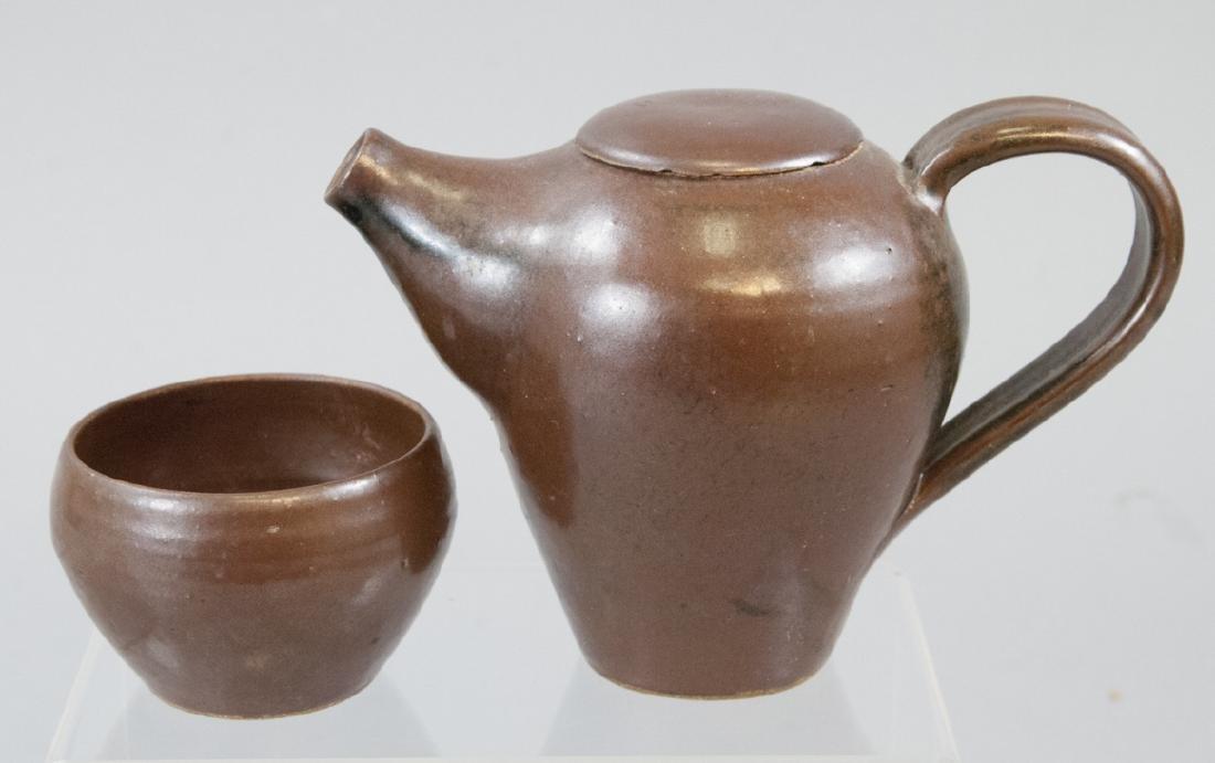 Signed Art Pottery Tea Pot & Cup